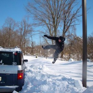 "jumping into 30"" of snow"