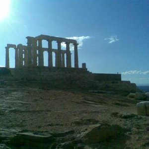 Temple of Poseidon, Sounion, Greece. Constructed 440 BC. Poet Byron carved his name on a Pillar