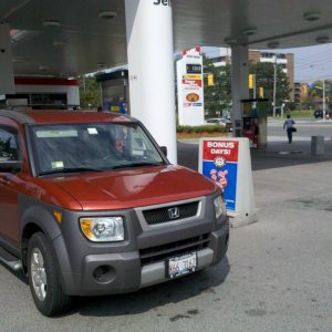 Oliver's 1st Canadian fill-up.
