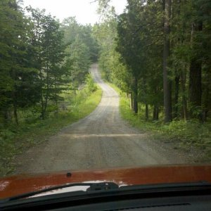 Driving through Petroglyphs Provincial Park in Ontario.