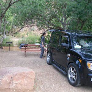 """E-Tronika"" Camping in Zion National Park:  Camping is what the Element was intended for :)"