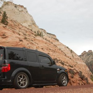 """E-Tronika"" driving through Zion National Park"