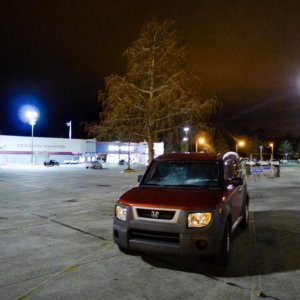 A DAMN cold night in a WalMart parking lot, probably deep south.