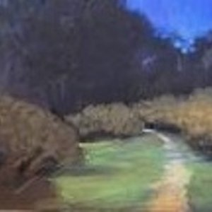 Landscape in pastel from Rancho Satwiwa Park in Newbury Park CA. Painted in studio from photos taken at park.