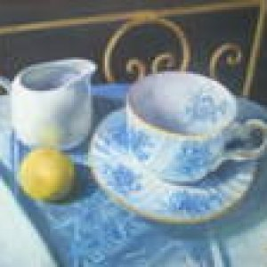 Oil painting of my teacup set with a lemon